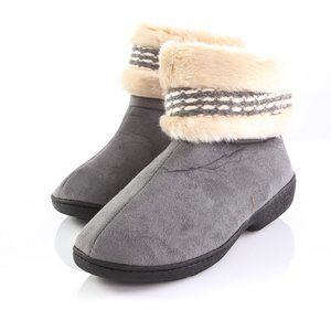 Isotoner Gray Faux Fur Slippers Collar Booties